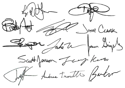 Signatures of the names that follow